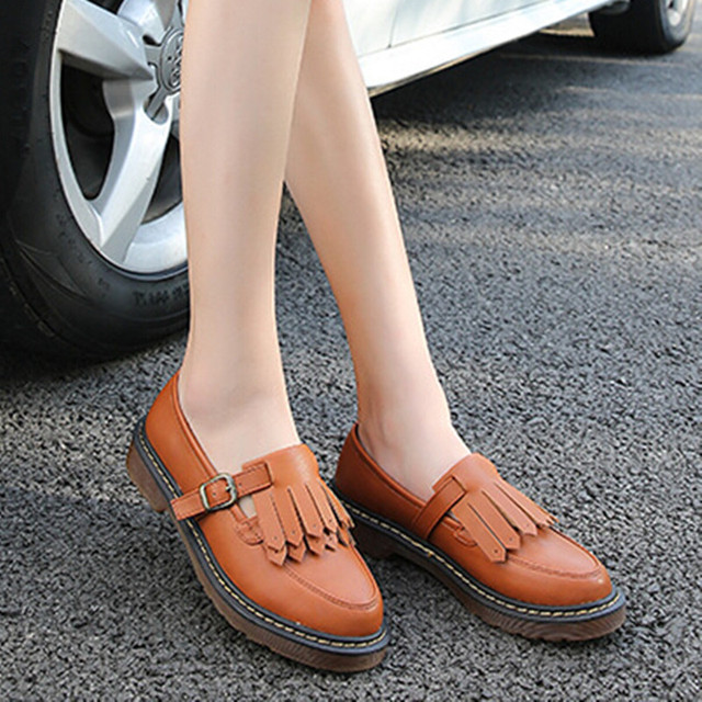 1a627d0f67 Brogue Oxford Shoes Woman Casual Leather Women Flats Ladies British Style  Moccasins Casual Work Loafers Shoes