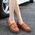 Brogue Sapatos Oxford Mulher Ocasional De Couro Das Mulheres Apartamentos Senhoras Estilo Britânico Mocassins sapatos Casuais Trabalhar Sapatos Mocassins Chaussure Femmer