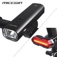 MICCGIN LED الدراجة السوبر مشرق الجبهة الخلفية طقم كشافات للدراجات فانوس للدراجات مضيا USB مصباح COB قابل للشحن ملحقات المصابيح-في مصباح الدراجة من الرياضة والترفيه على