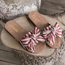 Liren 2019 Summer Sweet Bow Slippers Sandals Flat Heels Open Toe Striped Lady Fashion Casual Size 36-40