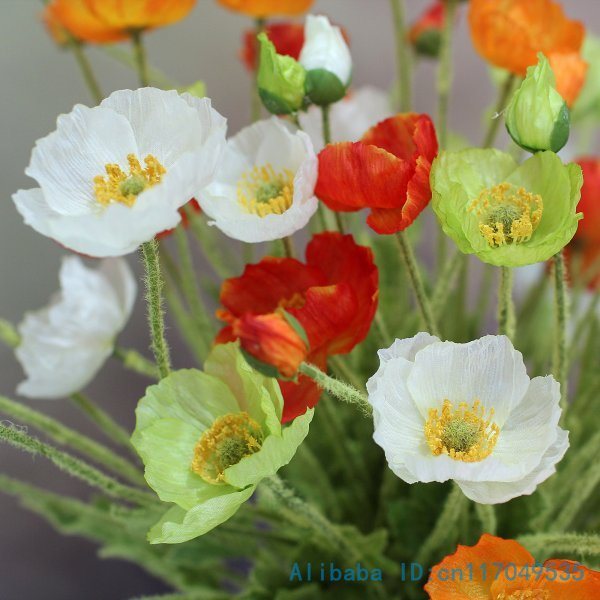 1 Pcs Beautiful Artificial Poppy Silk Flowers Home Wedding