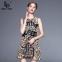 Wysoka Jakość Nowy 2017 Fashion Runway Lato Kobiety Sukienka List Olśniewająca Zamykania Puszek Diamenty Sexy Leopard Wydruku Sukienka Bez Rękawów