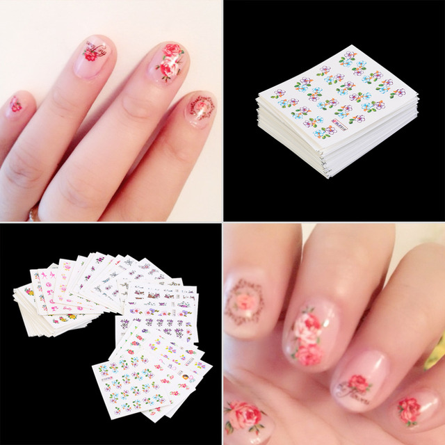 50pcs New Nail Wraps Flower Nail Art Stickers Polish Watermark Nail ...