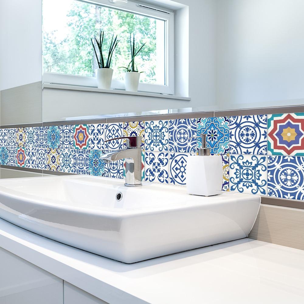 Купить с кэшбэком 0.20x5m Bathroom Stickers Waterproof Self Adhesive Tile Wallpaper Kitchen Wall Stickers Living Room Background Wallpaper Decor