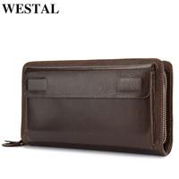 WESTAL Men's Clutch Bag Wallet Male Genuine Leather Double Zipper Men Wallet Long Phone Wallet Purse Card Holder Money Bags 9069