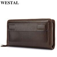 WESTAL Clutch Men's Genuine Leather Men's Wallets Clutch Male Double Zipper Wallet Purse for Men Clutches Bag Long Wallets 9069