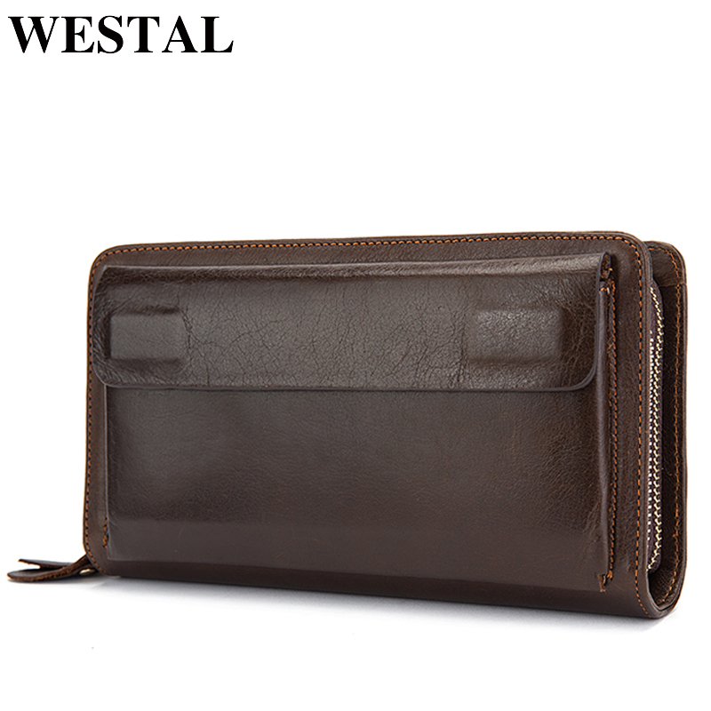 WESTAL Men's Wallet Clutch Male Men's Genuine Leather Wallets Double Zipper Purse for Men Clutch Bag Long Wallets Money Bag 9069