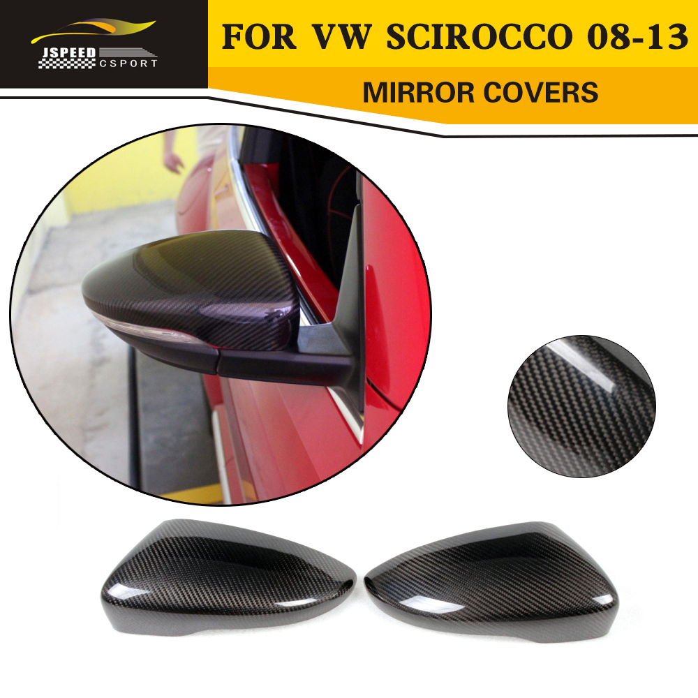 Car Styling Carbon fiber side mirror covers Review caps for VW Scirocco 2008-2013 car styling carbon fiber side review mirror cover caps for bmw 550i 5series e60 2005 2008