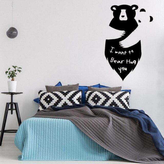 leuke dieren muurschildering twee beren omhelzing muurstickers quotes slaapkamer ik wil dragen knuffel vinyl tekst muurtattoo