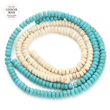 100pcs 3*6mm Natural Stone Green White Turquoises Beads for Jewelry Making Round Loose