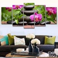 5 Pieces Canvas Landscape Frame Art Melamine Sponge Board Canvas Oil Painting Zen Stone Health Pictures