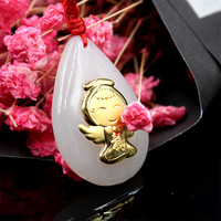 Top quality, gold inlaid jades, water drop Angel thickened full gold inlaid Hetian Jades Pendant Necklace