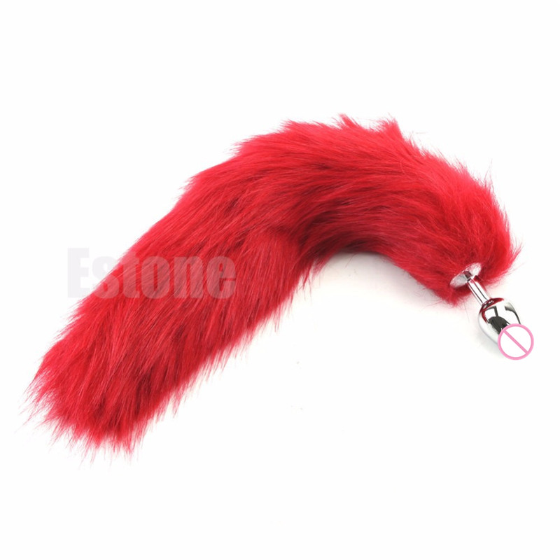 Buy Faux Fox Tail(Red)Anal Plug Stainless Steel Metal Anal Butt Plug Anal Plug Tail Anal Sex Toys Women Adult Sex Products