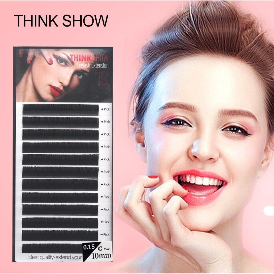 THINK SHOW Eyelashes Extension 12Lines/Tray B C D Curl 8-15mm Makeup Tools Individual Volume Lashes Korea Mink Eye Lash