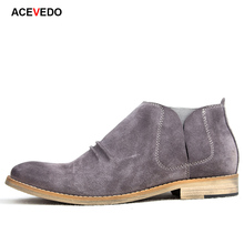 Acevedo 2017 spring and summer autumn men's boots suede british style male boots chelsea elastic genuine leather boots