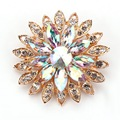 High Quality Beautiful AB Crystal Daisy Flower Design Fashion Pins and Brooches in Gold Plated for Female