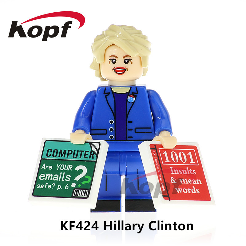 Single Sale Super Heroes Hillary Clinton Donald Trump Mr.Bean Indiana Jones Building Blocks Collection Toys for children KF424 single sale super heroes red yellow deadpool duck the bride terminator indiana jones building blocks children gift toys kf928