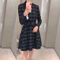 Платье в клетку Винтаж корейский стиль Для женщин с длинным рукавом платье для Для женщин высокое качество платье в клетку офисные