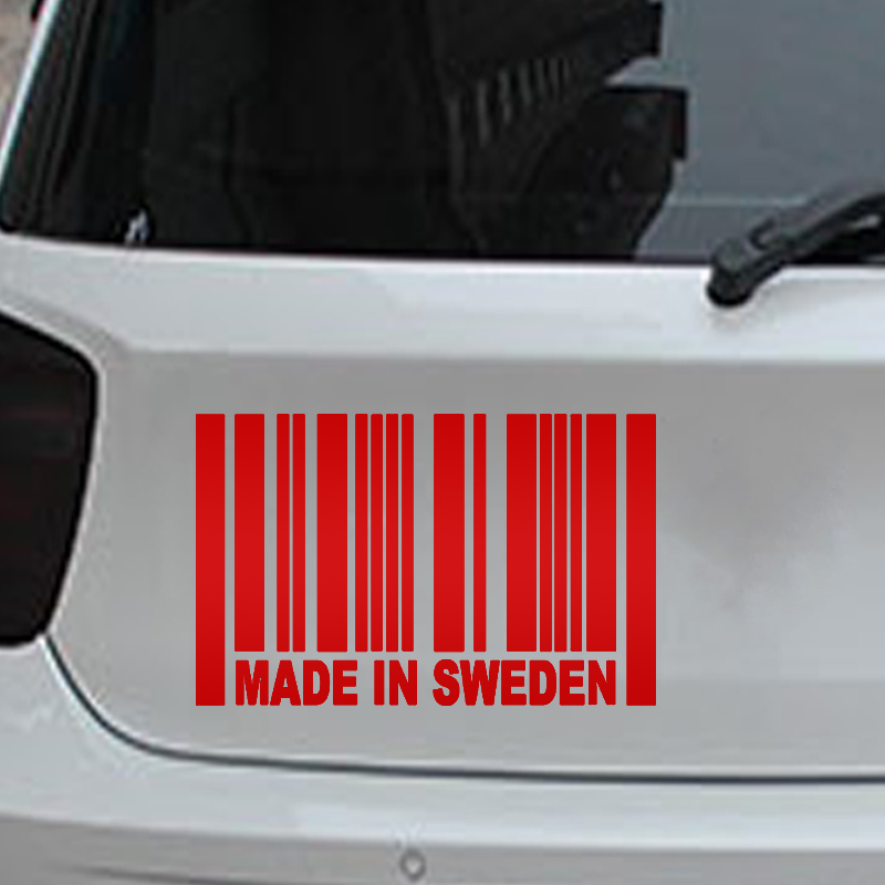 Made in sweden barcode 159 cm car stickers jdm car window car body words number letter vinyl decal black silver etc 13 color in car stickers from