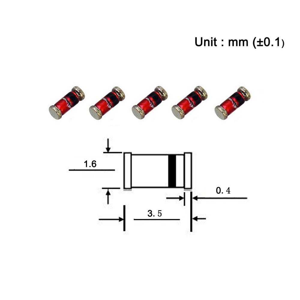 Pack of 100 Pieces Chanzon SMD Zener Diode 0.5W 3.9V ZMM3V9 LL-34 SOD-80 MiniMELF // 1206 0.5 Watt 3.9 Volt Silicon Glass Zener Diodes