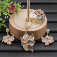 Fateama Jewelry Set Special Butterfly Flower Full Plated Necklace with Earrings and Ring for Anniversary Engagement Luxury Gifts