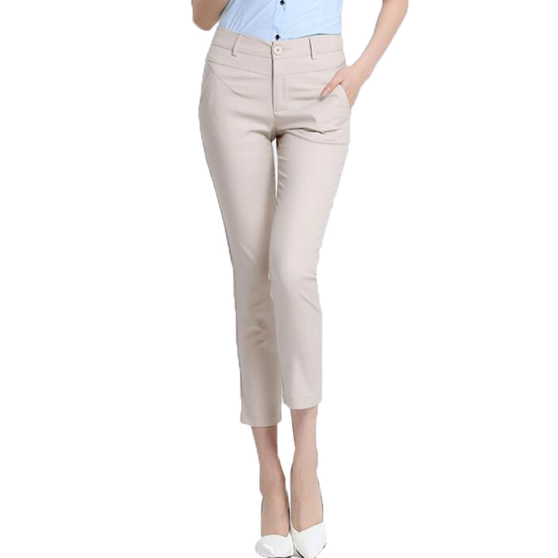 High quality women cool   capris     pants   ladies wear to work business suit trousers black white red pantalon female Suit Trousers XL
