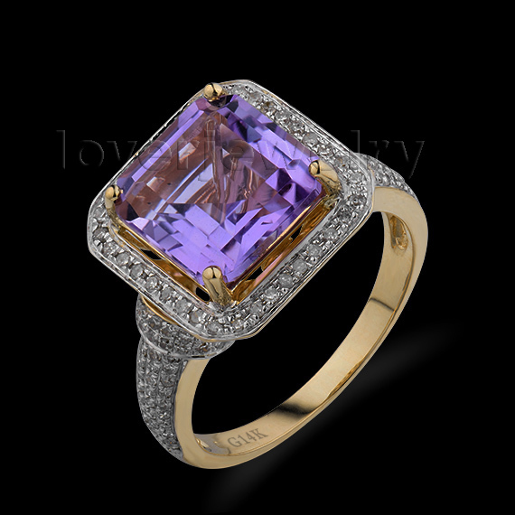 цена Lady Princess 10x10mm Solid 14Kt Yellow Gold Diamond Purple Amethyst Ring G090326