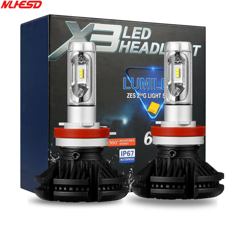 2PCS X3 Car led Headlight H1 H4 H11 H7 Led bulbs 9005 HB3 Hi/lo Beam Auto lamps lMotorcycle headlamp super Bright 12000lm 50W