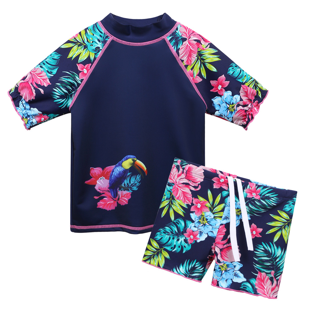 BAOHULU Navy Flower Girls Swimwear Two Pieces Short Sleeve Kids Swimsuit Set For 3-10 Years Children Swimwear Beach Bathing Suit