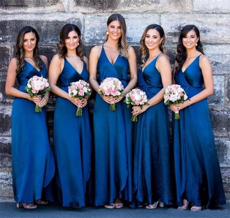 Simple Royal Blue Country   Bridesmaid     Dresses   Long V-Neck Summer Boho Maid Of Honor   Dresses   Front Slit Cheap Wedding Guest Gowns