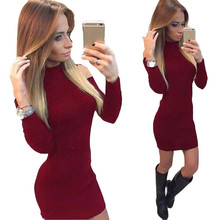 Vestidos 2017 Spring Autumn Women Fashion Solid O-neck Sexy Knitted Dress Long Sleeve Bodycon Sheath Pack Hip Dress Plus Size