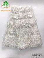 Beautifical Biały ślub 3D kwiaty francuski koronki tkaniny Afryki koronki tkaniny na suknie koraliki tiul koronka tkaniny Nigerii JYN174