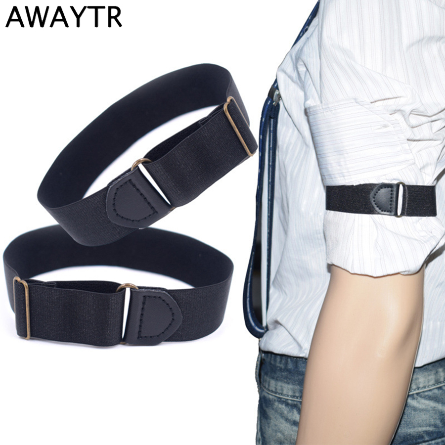 AWAYTR 1 Pair Men Women Anti-slip Shirt Sleeve Holders Unisex Stretchy Adjustable Armband Sleeve Garter Cosplay Armbands