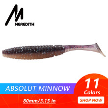 "MEREDITH 3.15"" Absolut Minnow Fishing Baits 3.7g 80mm 10pcs Paddle Tail Lure Wobbler Fishing Lures Artificial Fishing Soft Worm(China)"