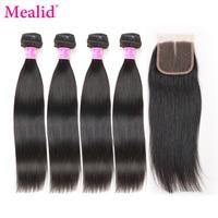 Mealid Peruvian Hair Bundles With Closure Straight Hair 4 Bundles With Closure Non remy Human Hair Bundles With Lace Closure