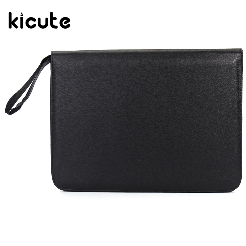 Kicute 1pcs Black Leather Folder Type Pencil 48 Pack Bag Fountain Pen Case Business Gifts High Quality Office School Supplies цена