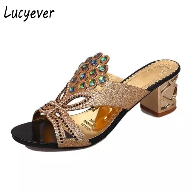 002adce439222d Lucyever Fashion Rhinestone Slippers Women Sandals Women Summer Shoes Slip  On Shoes Flip Flops Female Shoes Woman zapatos mujer