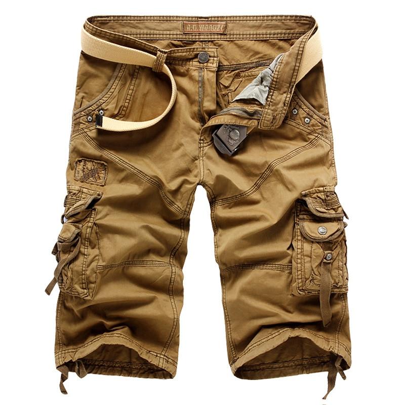Mens Solid Cargo Shorts Summer Casual Short Pants Fashion Military Short Trousers Male Loose Shorts Bermuda Pockets