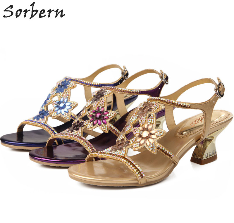 Sorbern Sandalias Mujer 2018 Crystal Women Sandals Shoes Chaussure Femme Buckle Strap Ladies Rhinestone Shoes 34-44 Size