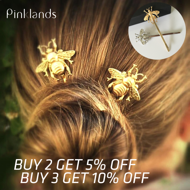 Metal Hair Clips For Women Gold Bee Hairpin Side Hair Clip Korean Hair Pins Girl Barrette Bobby Pins Hair Styling Accessories
