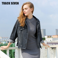 TRACK SEVEN H5332 Autumn Winter New Korean Style Women Denim Coat Irregular Black Loose Hole Jean