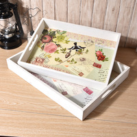1PC 40x30cm Wood Dinning Bread Breakfast Tray Serving Trays for Dessert Cake Cupcake Fruit Large Size NU 005
