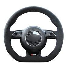 Housse de volant en daim noir, pour Audi S1 8X S3 8V Sportback S4 B8 Avant S5 8T S6 C7 S7 G8 RS Q3 8U SQ5 8R