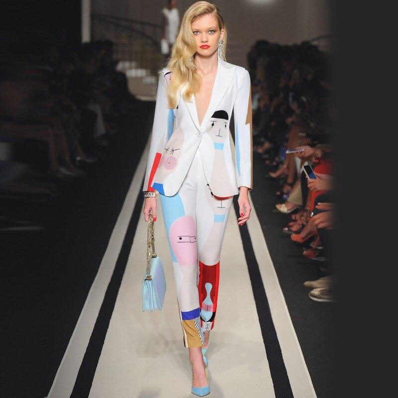 2019 ฤดูใบไม้ร่วง 2 pcs ผู้หญิงชุดหนึ่งปุ่ม blazer ผู้หญิง + กางเกงดอกไม้พิมพ์ชุดคุณภาพสูง-ใน ชุดสตรี จาก เสื้อผ้าสตรี บน   1