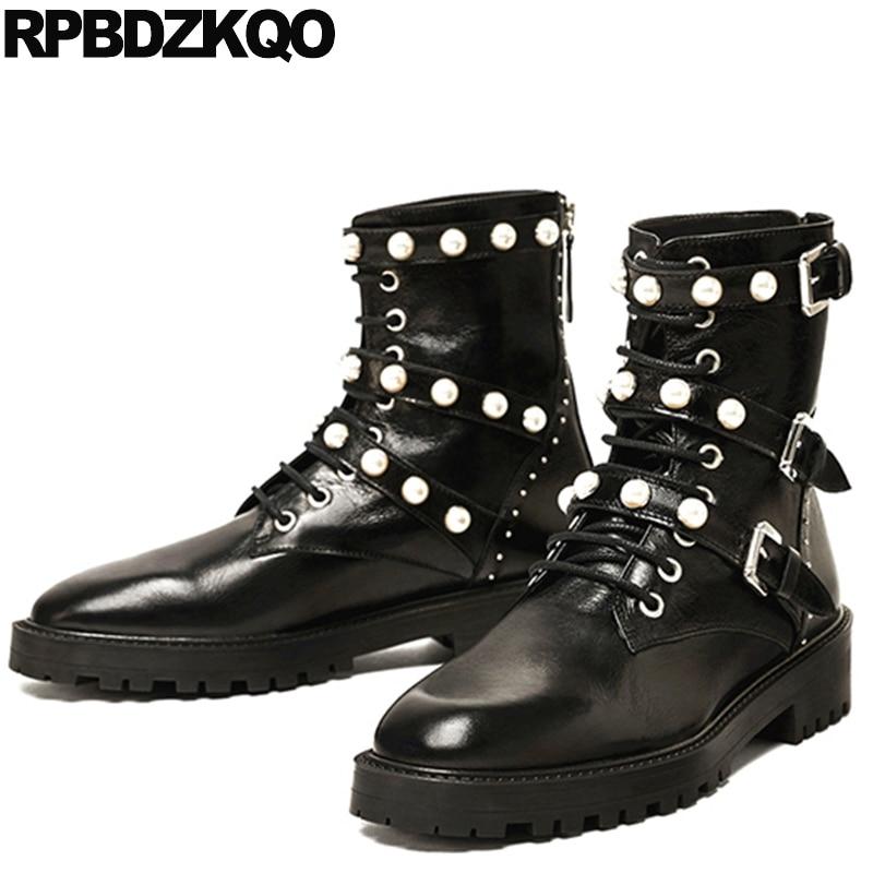 Military Platform Ankle Shoes Stud Embellished Lace Up Black Combat Pearl Metal Brand Women Winter Boots Genuine Leather High black sequins embellished open back lace up top