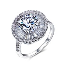 Роскошные Модные Женщины Обручальные Кольца Классический Ювелирный Позолоченный Проложить Установка AAA Кубического Циркония Bling Большой Камень
