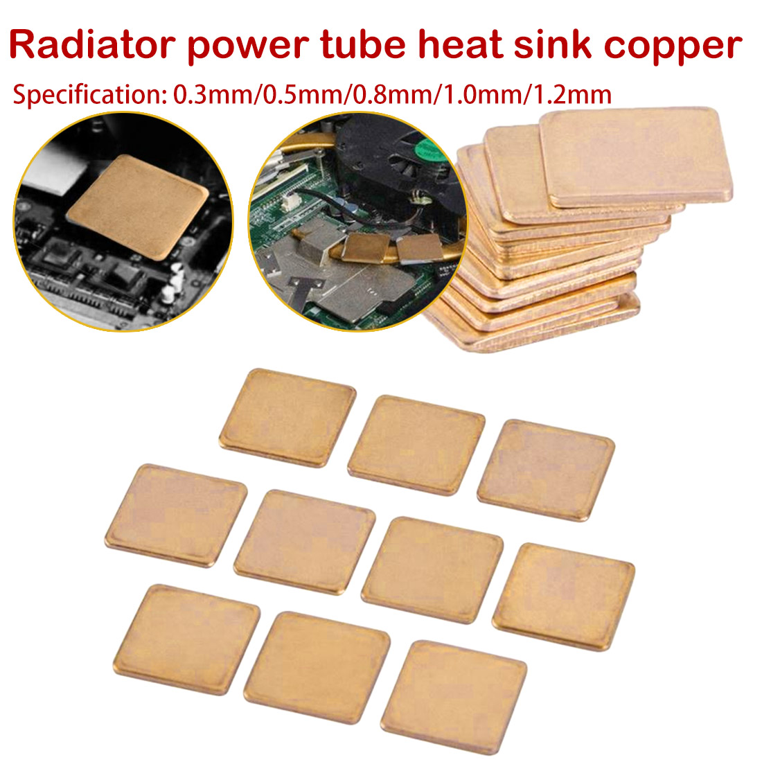 Copper Pad Copper Shim:15*15*1.2mm 20pcs Laptop GPU CPU Heatsink Thermal Pad