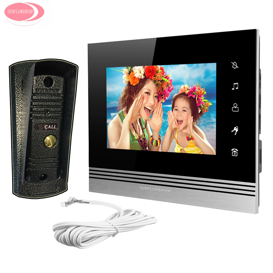 7 inch Color Home Video Door Phone Intercom System Touch key Monitor + Night Vision Metal Waterproof Camera Video Door Phone Set tmezon 4 inch tft color monitor 1200tvl camera video door phone intercom security speaker system waterproof ir night vision 4v1