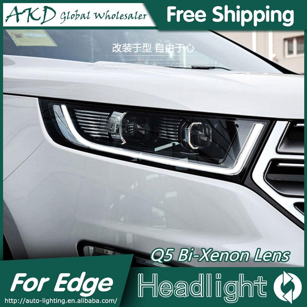 Akd car styling for ford edge headlights 2015 2016 new edge led headlight led drl