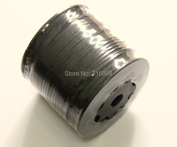 Free Ship 100 Meters 10mm Black Flat ONE SIDE Leather Flat Faux Suede Leather Cord
